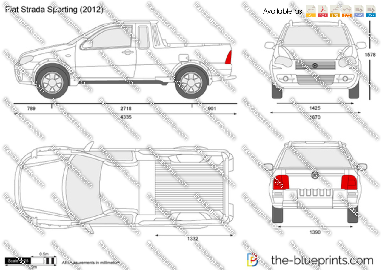the vector drawing fiat strada sporting. Black Bedroom Furniture Sets. Home Design Ideas