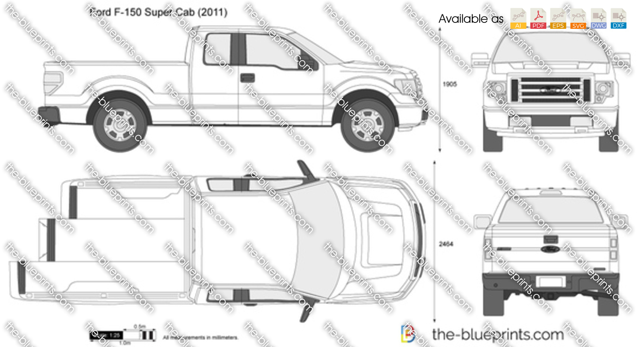 The vector drawing ford f 150 super cab for Ford motor credit application pdf