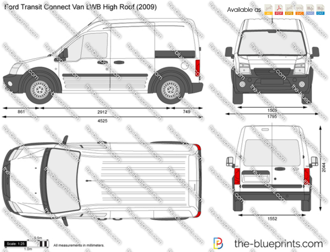 ford transit connect van lwb high roof vector drawing