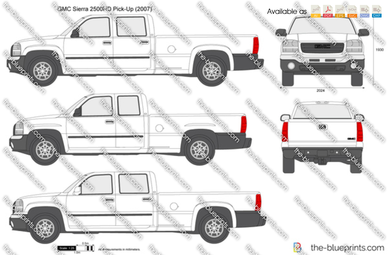 GMC Sierra 2500HD Pick-Up vector drawing