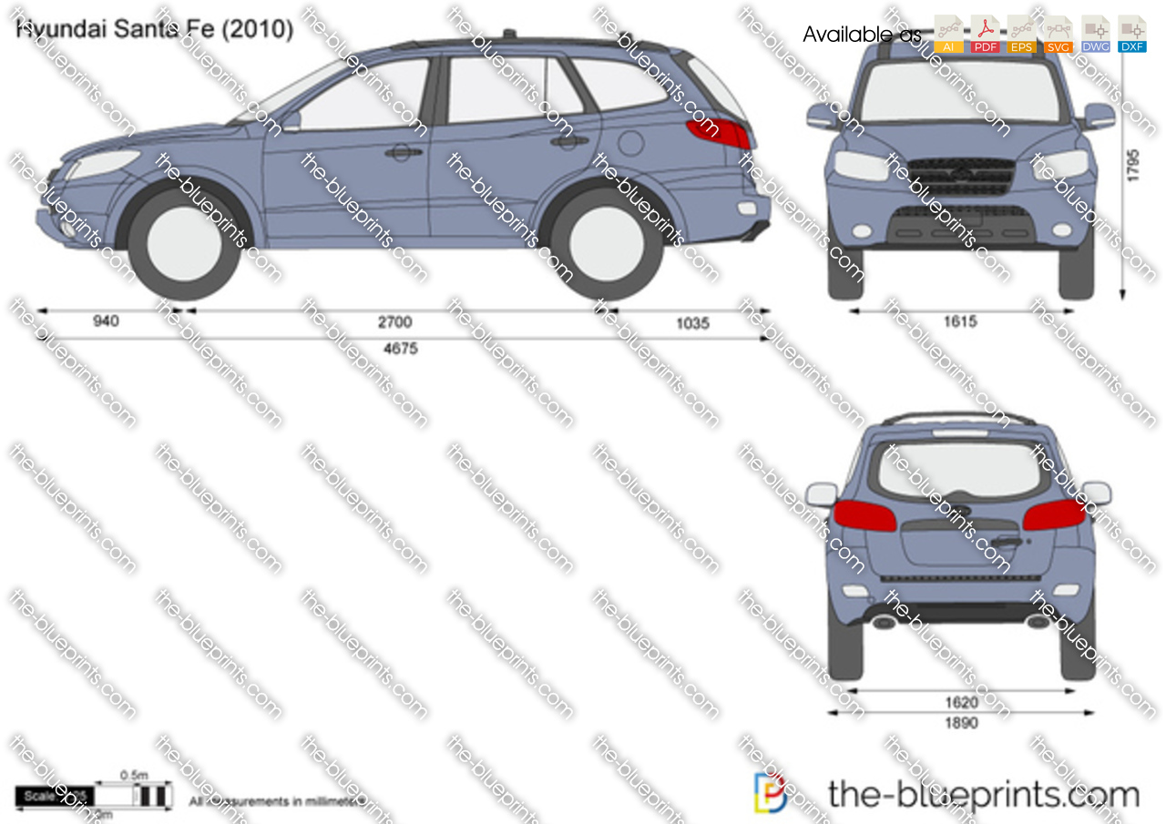Hyundai Santa Fe Vector Drawing