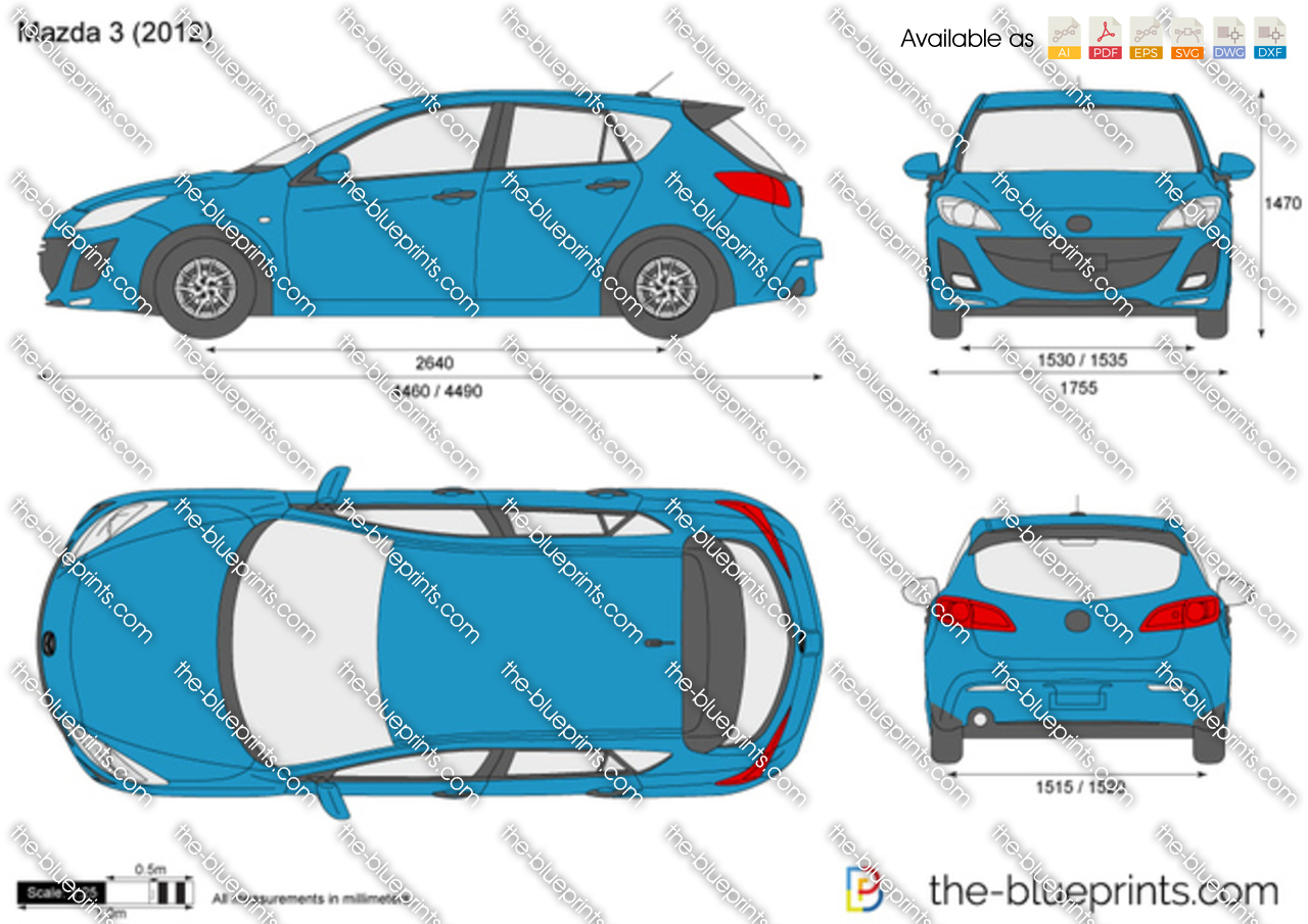 Mazda 3 Vector Drawing