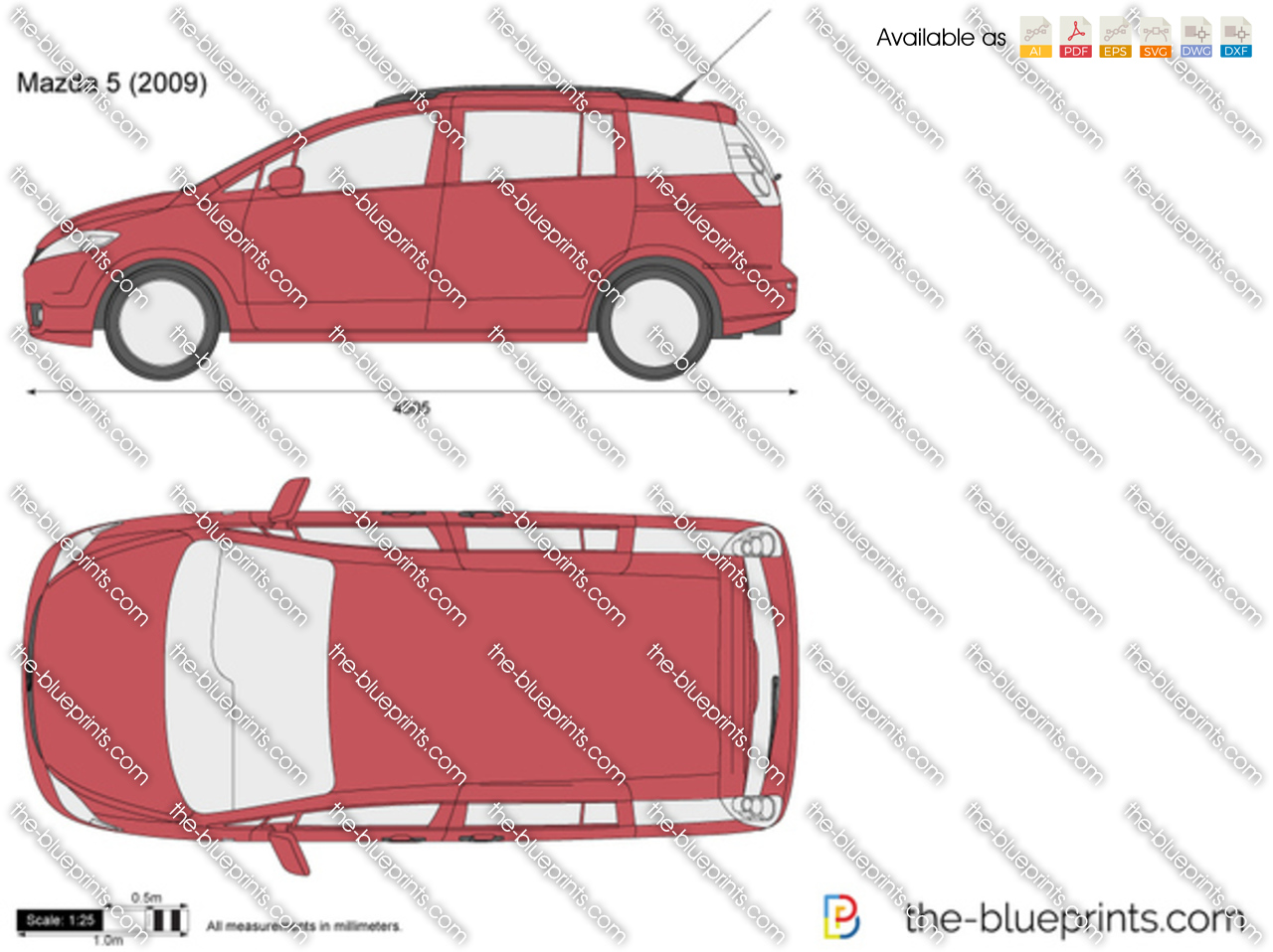 Mazda 5 Vector Drawing