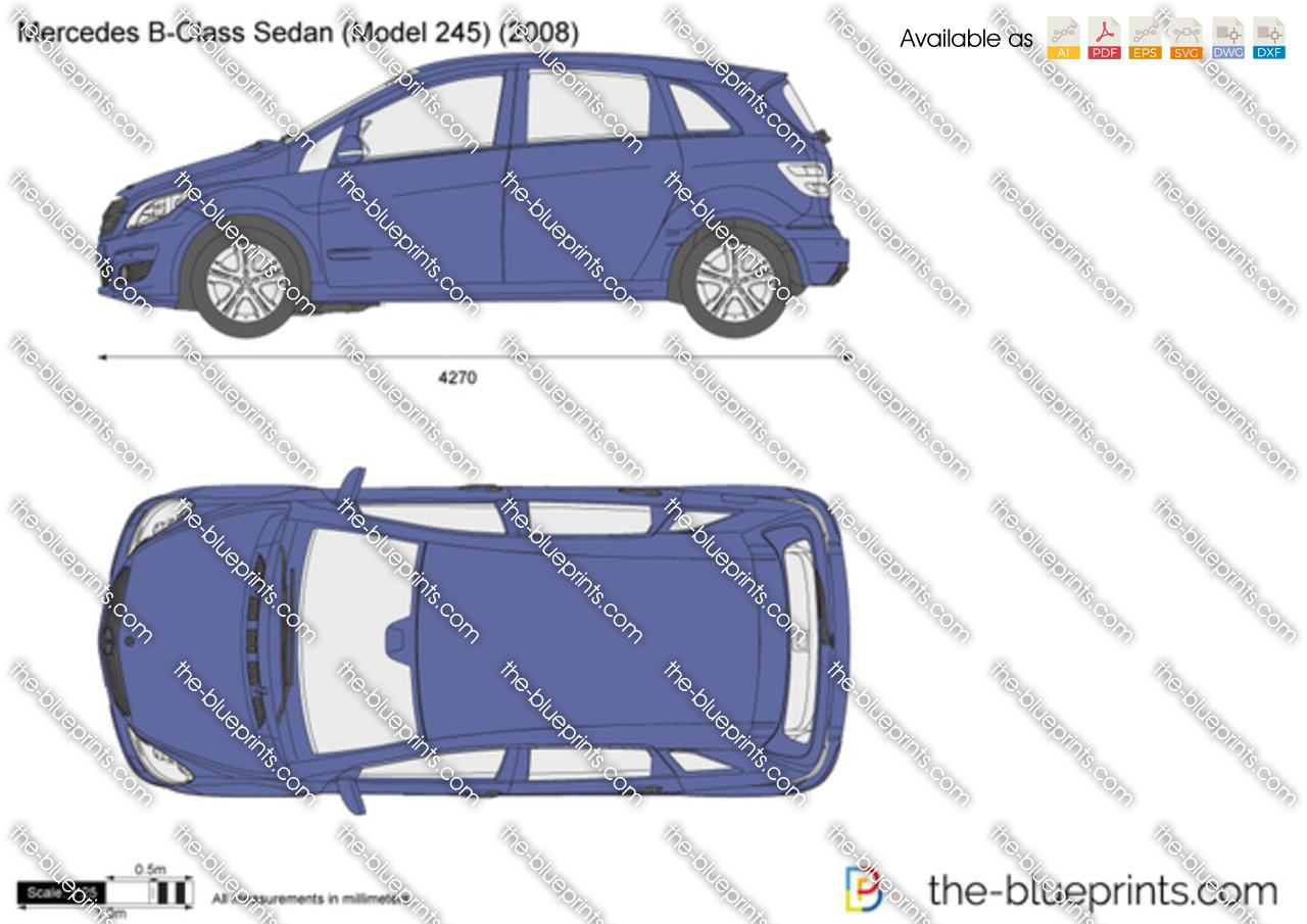 mercedes benz b class sedan w245 vector drawing. Black Bedroom Furniture Sets. Home Design Ideas