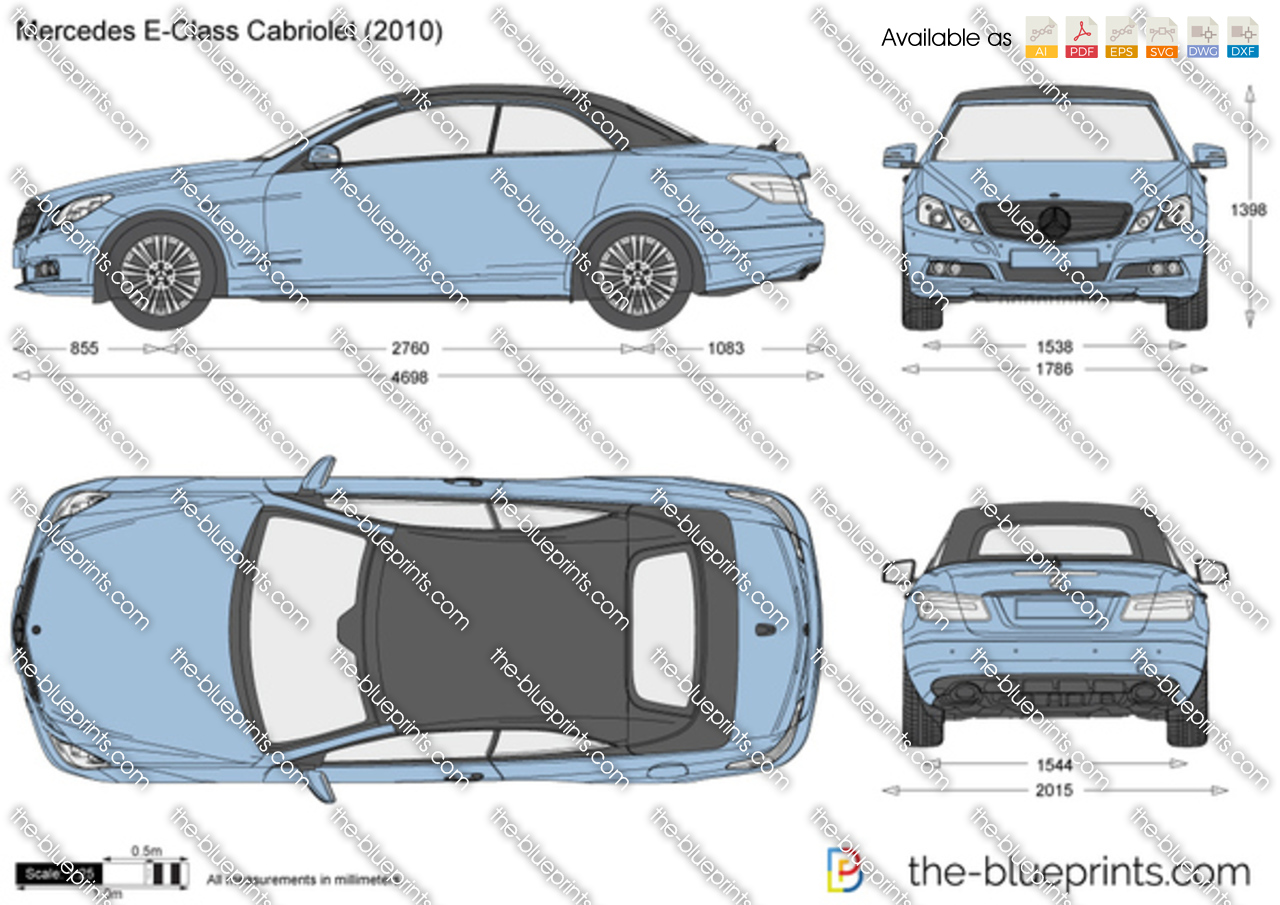 Mercedes Benz E Class Cabriolet W212 Vector Drawing