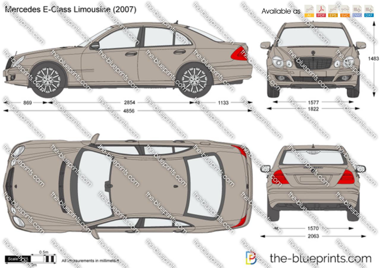 Mercedes Benz E Class Limousine W211 Vector Drawing