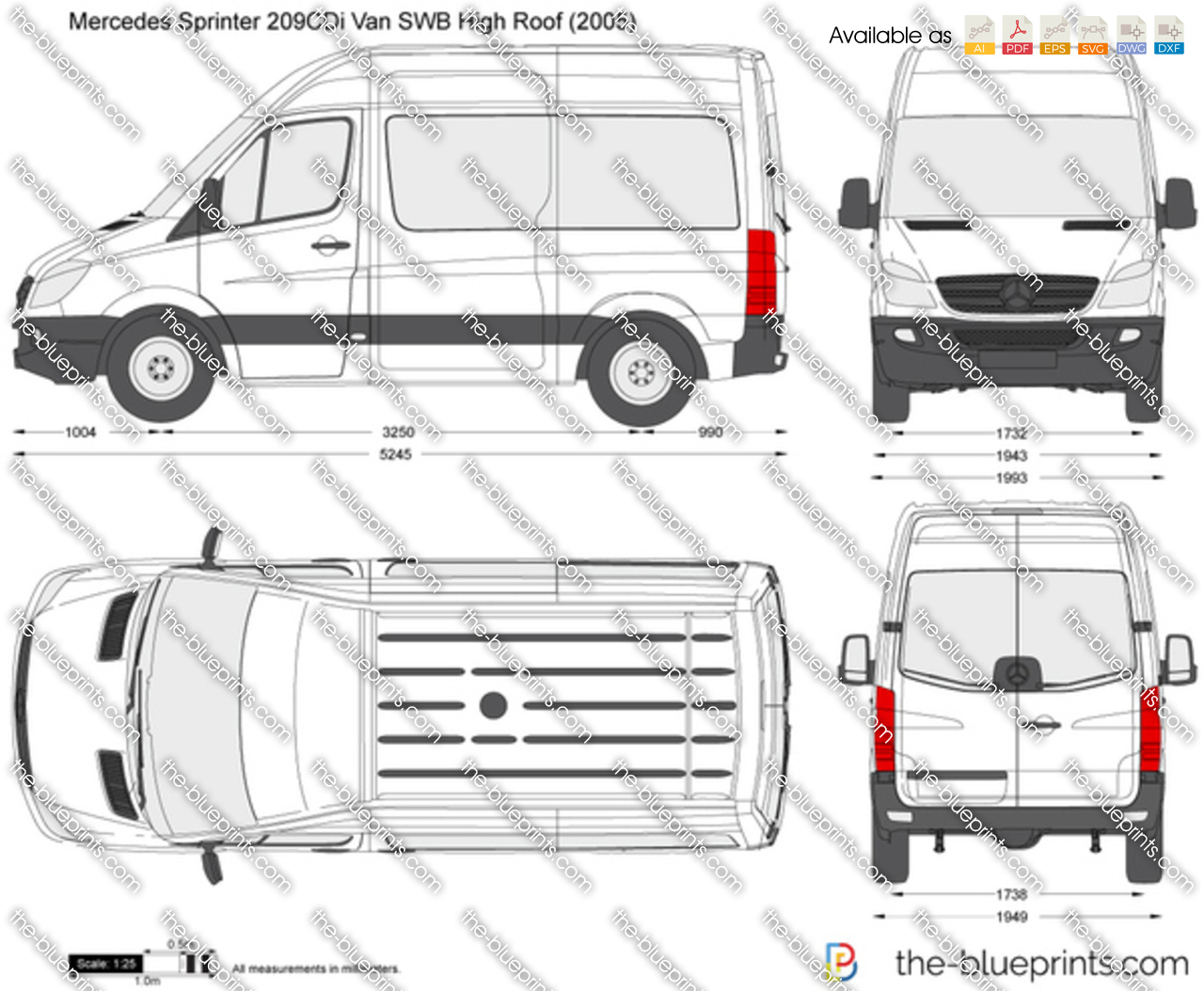 mercedes benz sprinter 209cdi van swb high roof vector drawing. Black Bedroom Furniture Sets. Home Design Ideas