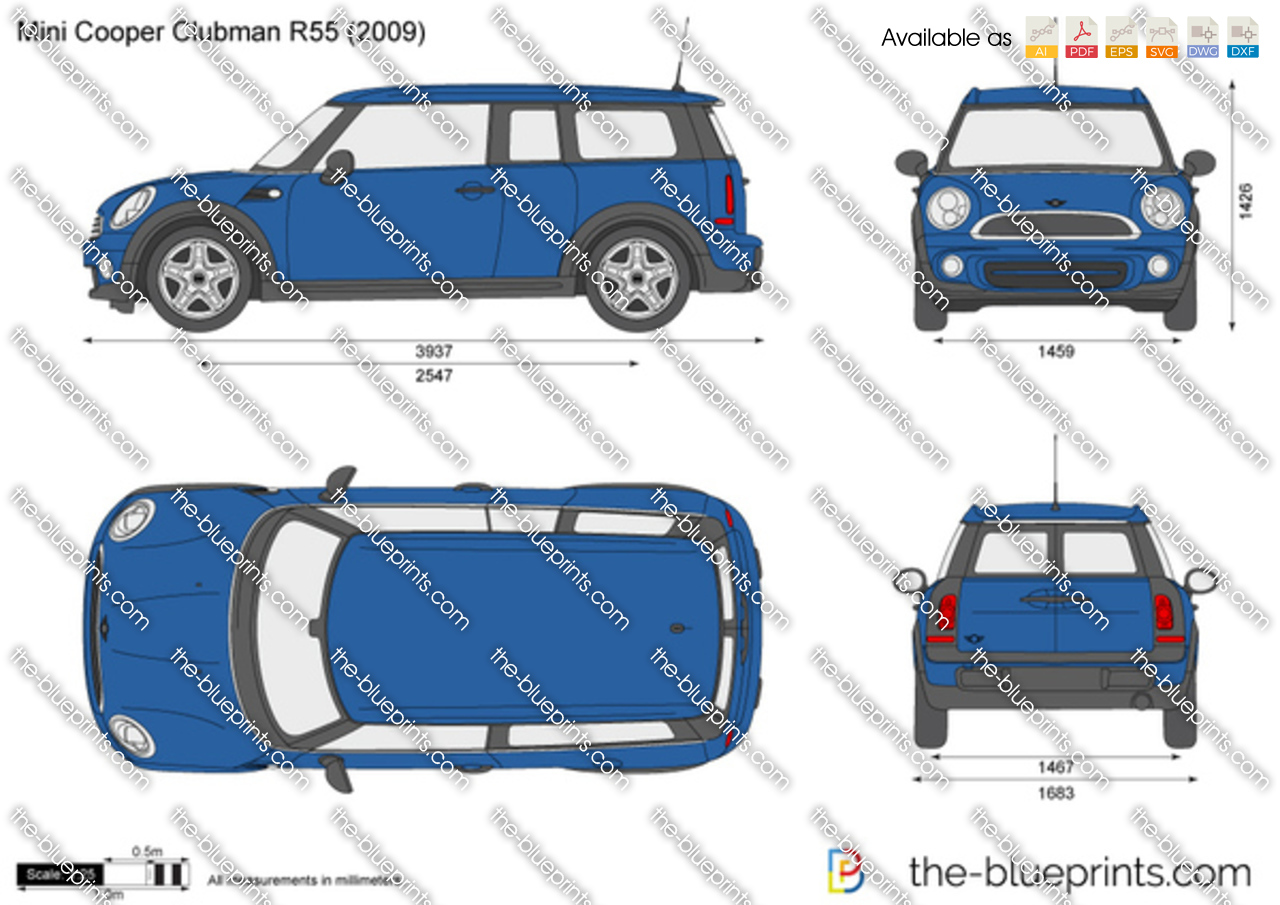 Mini Cooper Clubman R55 Vector Drawing