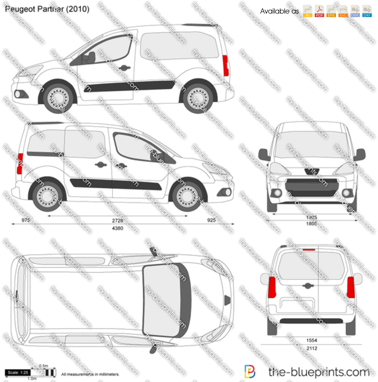 the-blueprints - vector drawing - peugeot partner
