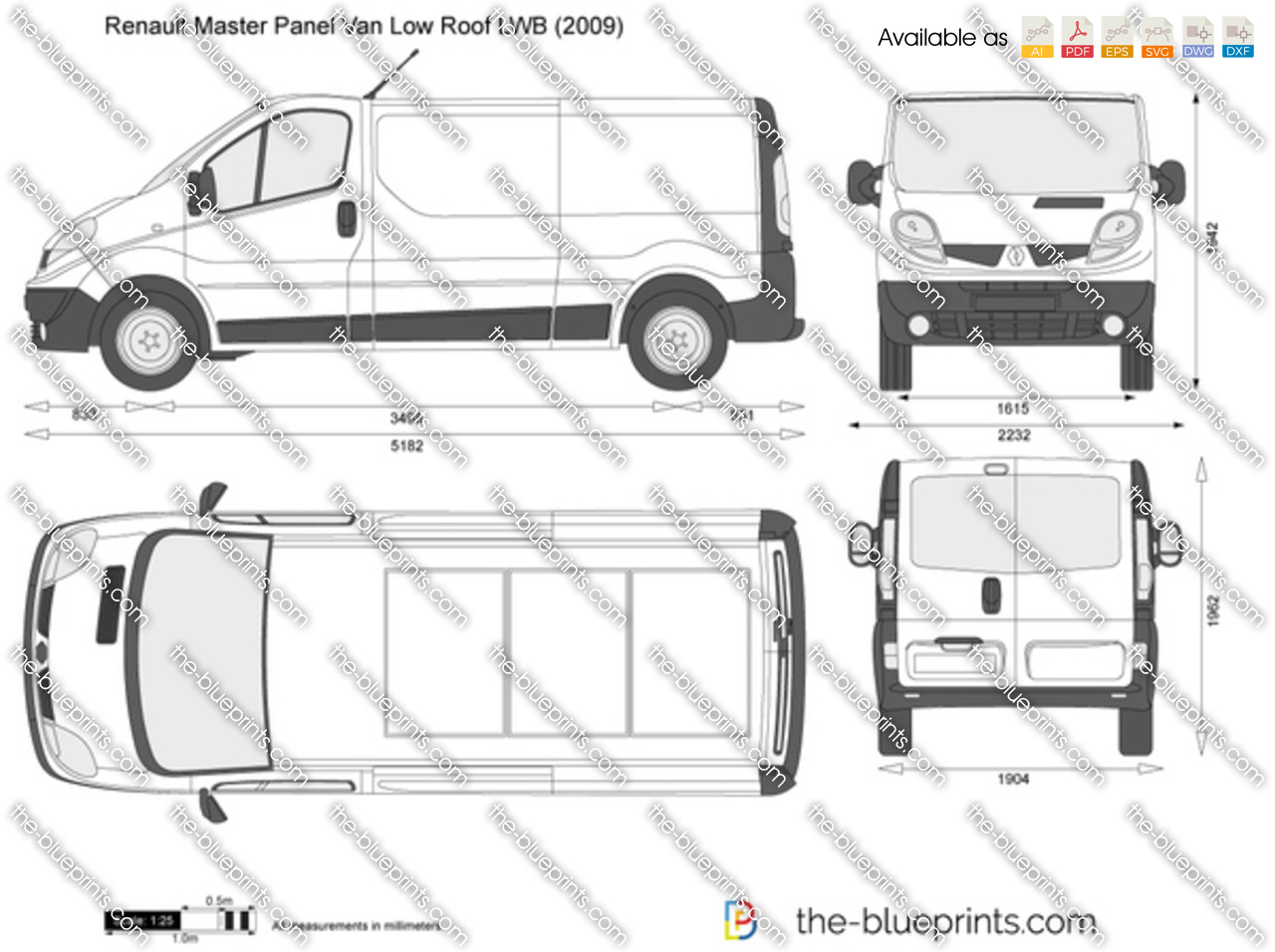 renault trafic panel van low roof lwb vector drawing. Black Bedroom Furniture Sets. Home Design Ideas