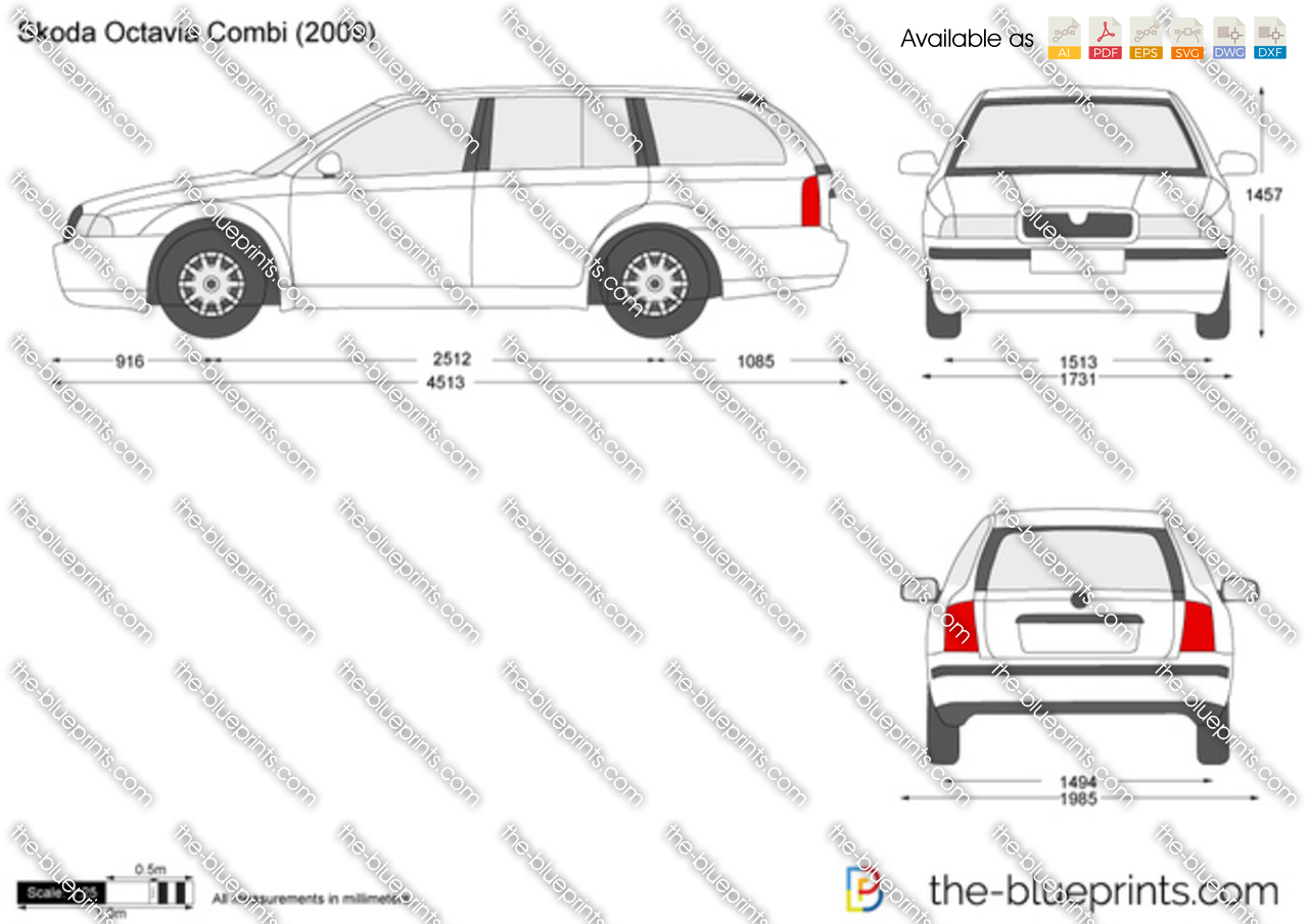 skoda octavia combi vector drawing