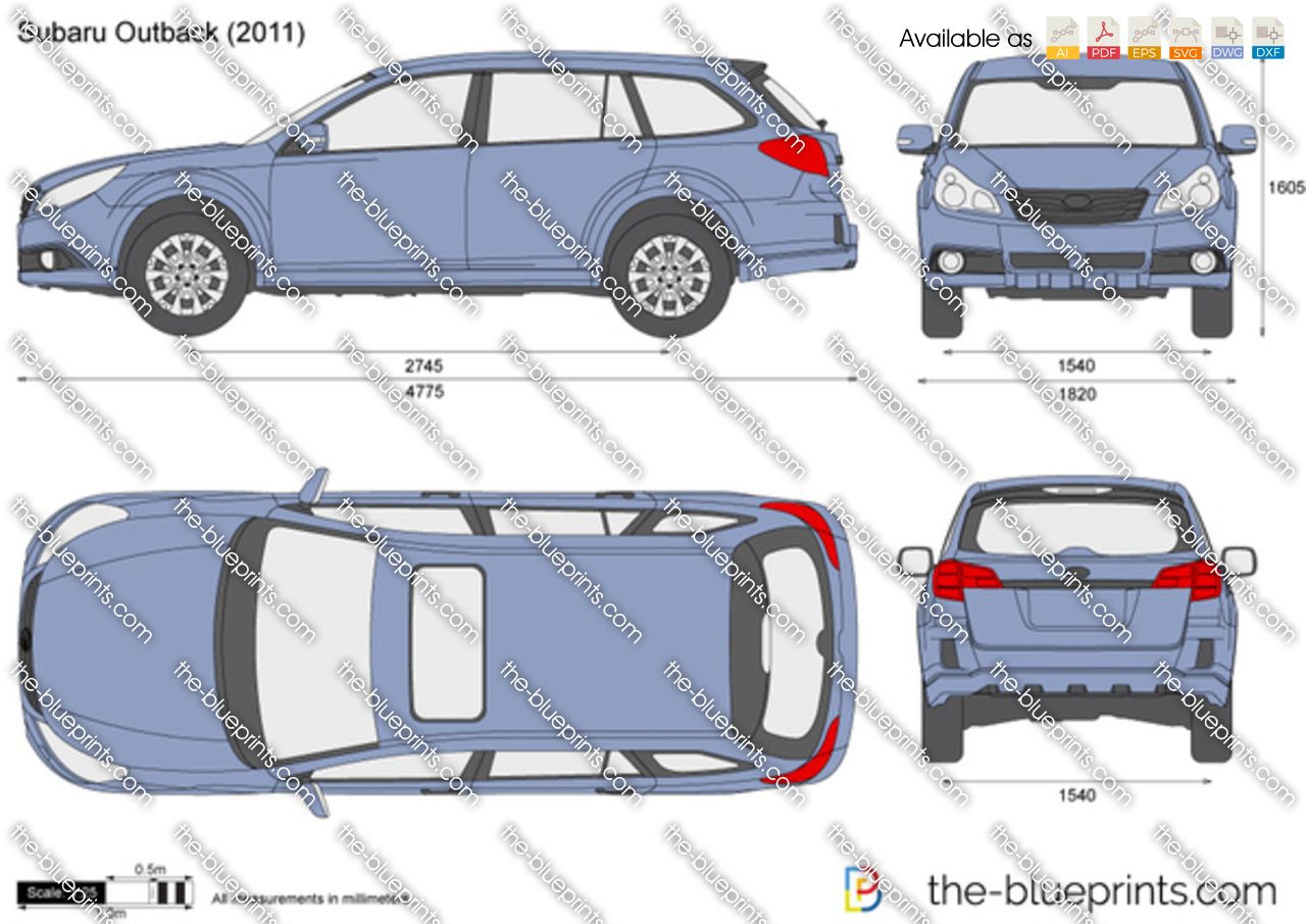 Subaru Outback Dimensions >> Subaru Outback Vector Drawing