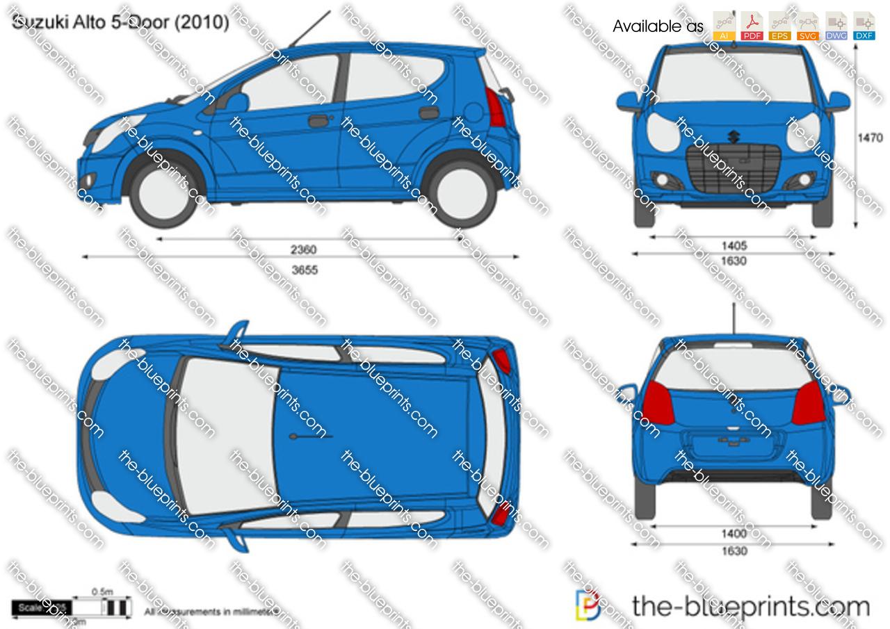 Suzuki Alto 5 Door Vector Drawing