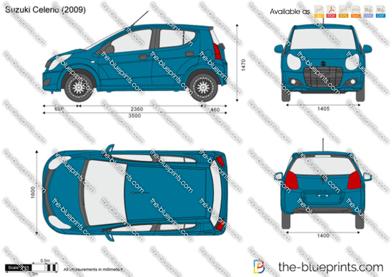 Suzuki Celerio Vector Drawing