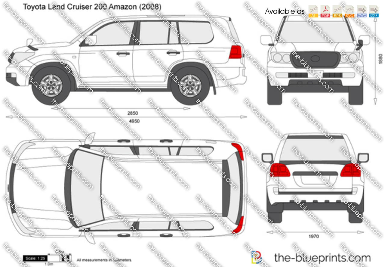 toyota land cruiser 200 amazon vector drawing