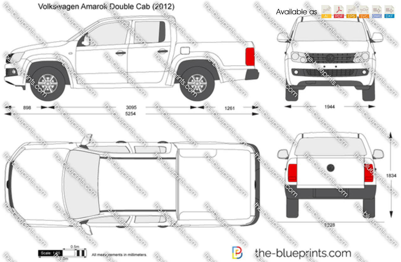 volkswagen amarok double cab vector drawing