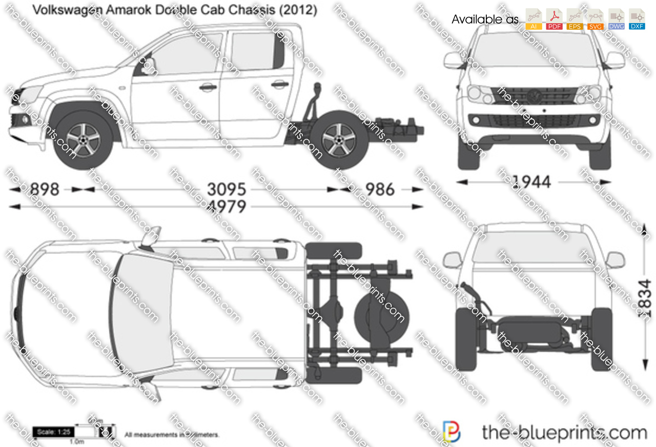 Volkswagen Amarok Double Cab Chassis Vector Drawing