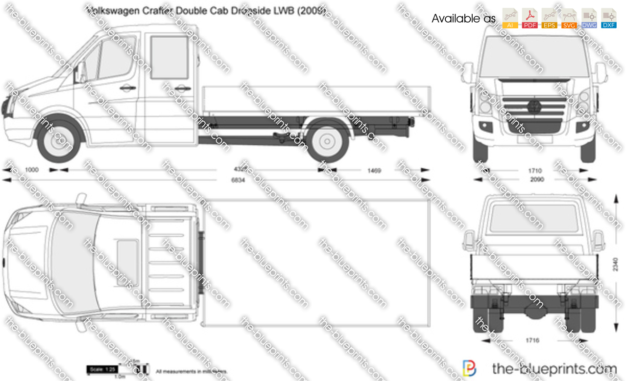 Transit Dropside Dimensions >> Volkswagen Crafter Double Cab Dropside LWB vector drawing