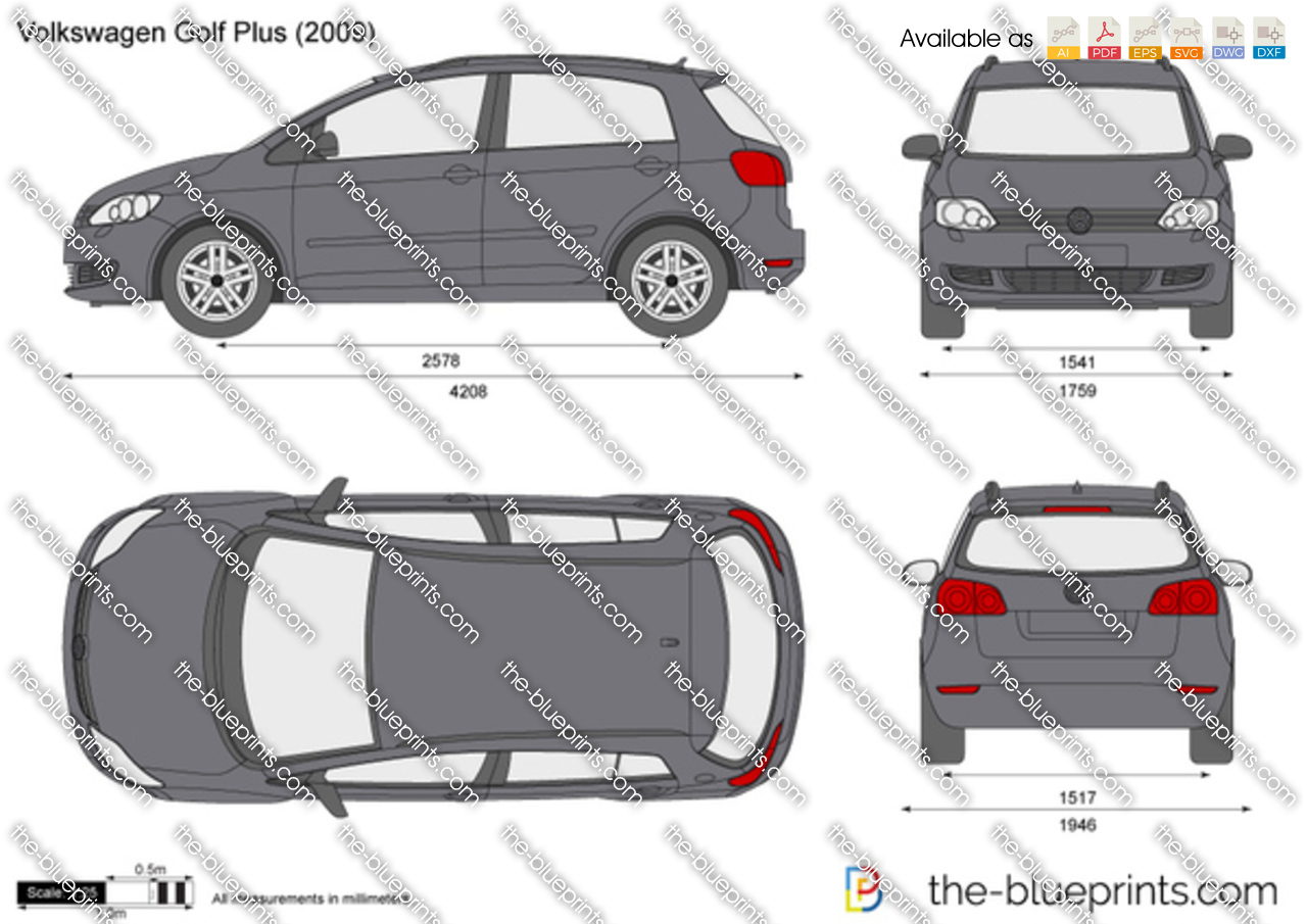 the vector drawing volkswagen golf plus. Black Bedroom Furniture Sets. Home Design Ideas