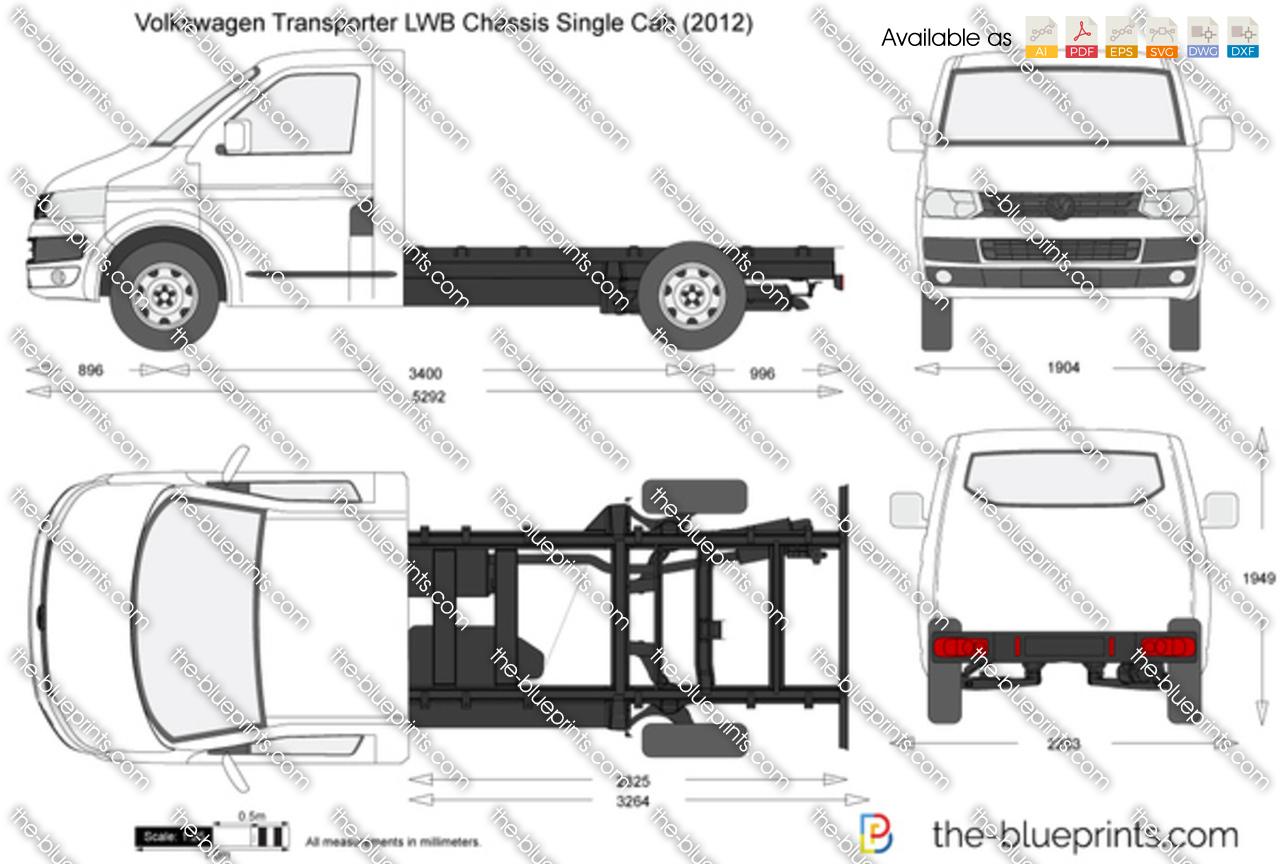 volkswagen transporter t5 2 lwb chassis single cab vector drawing. Black Bedroom Furniture Sets. Home Design Ideas
