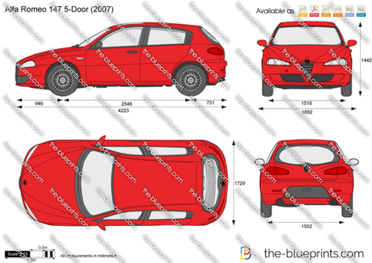 alfa romeo 147 5 door vector drawing. Black Bedroom Furniture Sets. Home Design Ideas