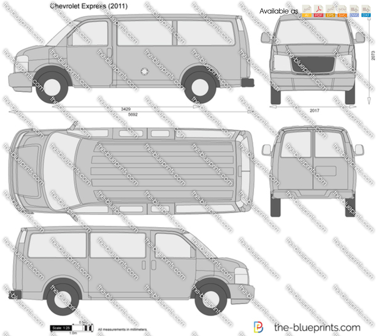 Chevrolet Express Vector Drawing