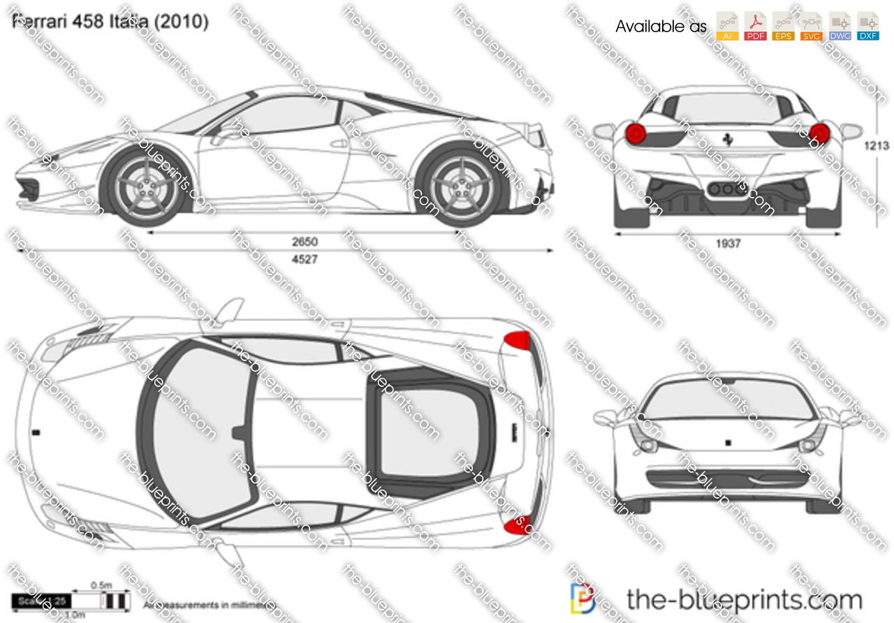 Ferrari 458 italia vector drawing ferrari 458 italia malvernweather Choice Image