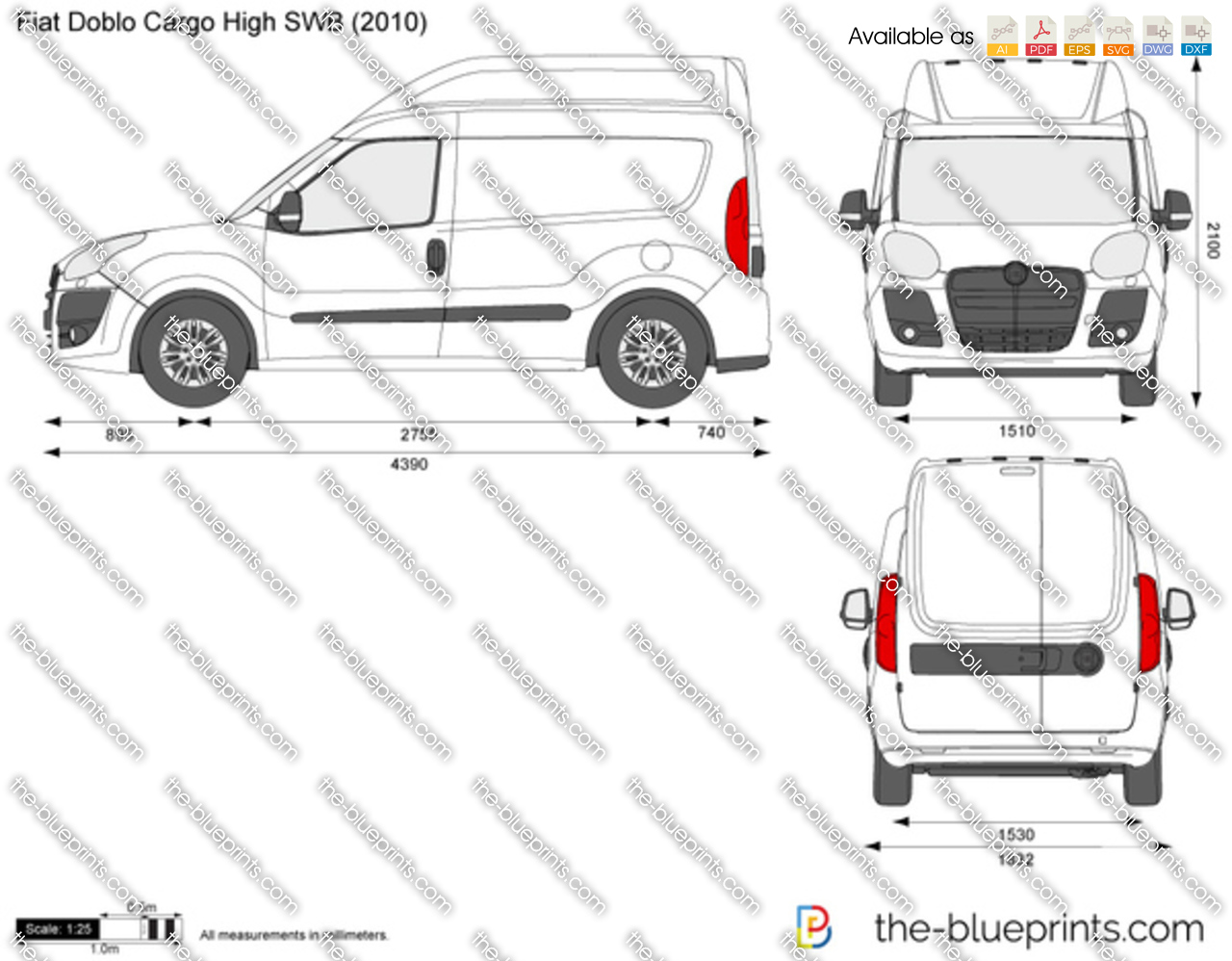 the-blueprints - vector drawing - fiat doblo cargo high swb