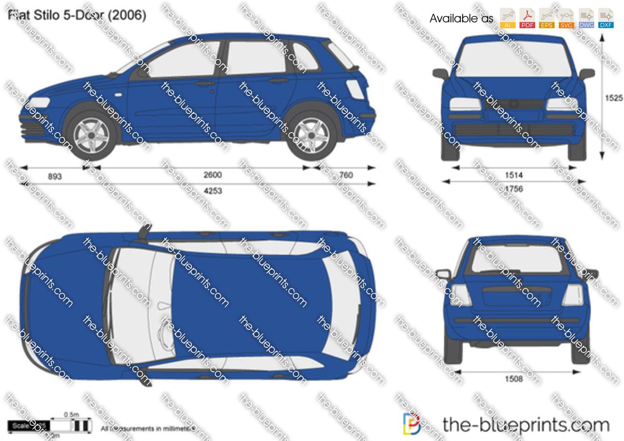 2010 Ford Transit Connect >> The-Blueprints.com - Vector Drawing - Fiat Stilo 5-Door
