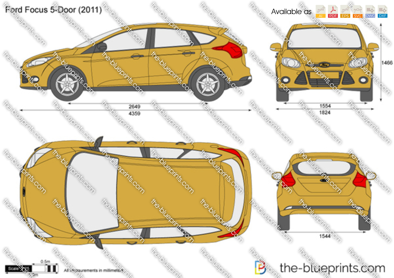 Ford Focus 5 Door Vector Drawing