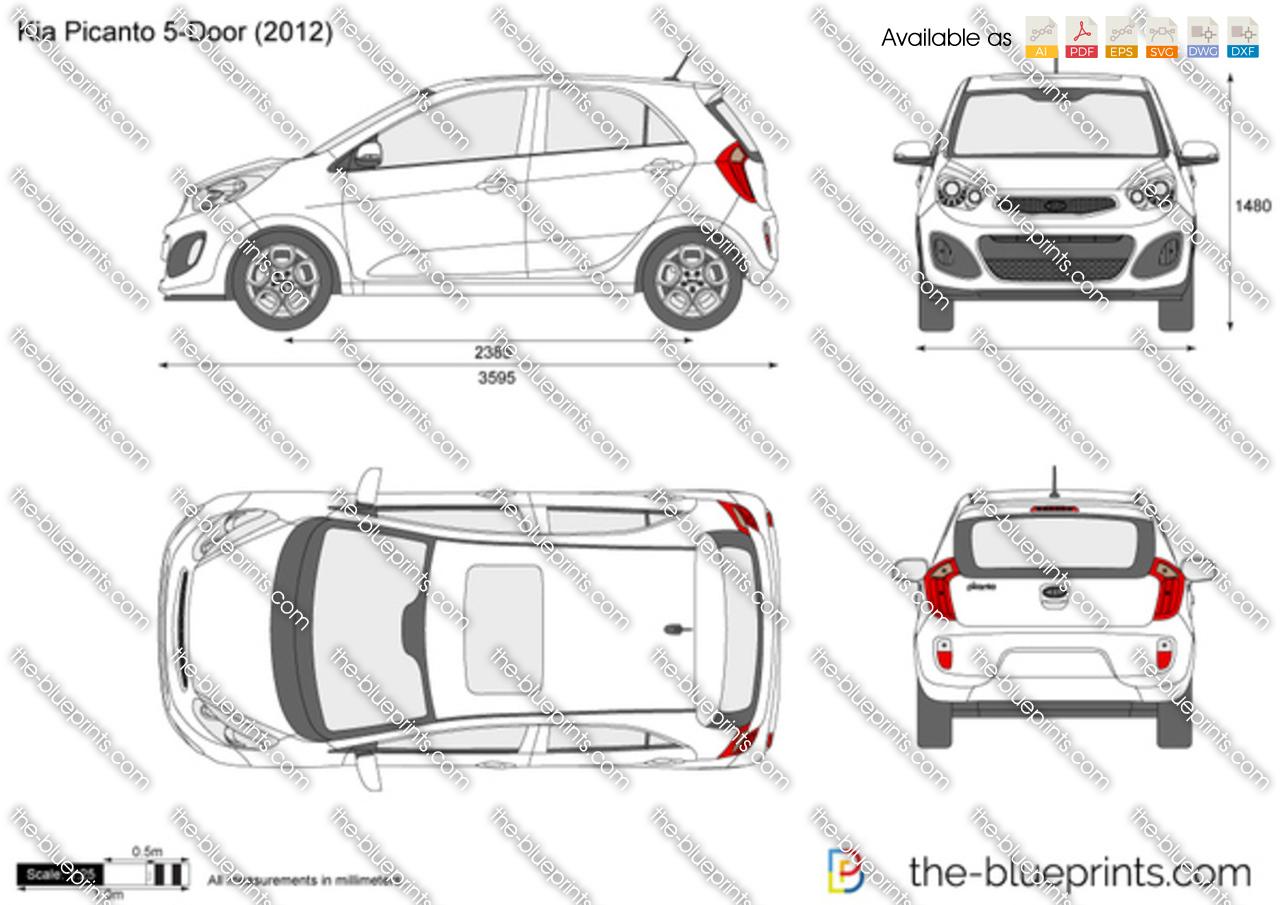 Kia Picanto 5 Door Vector Drawing