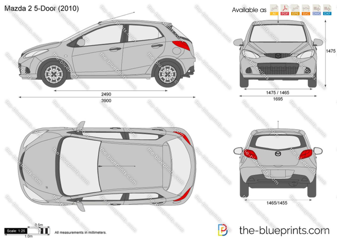 Mazda 2 5 door vector drawing 2010 mazda 2 5 door malvernweather Gallery