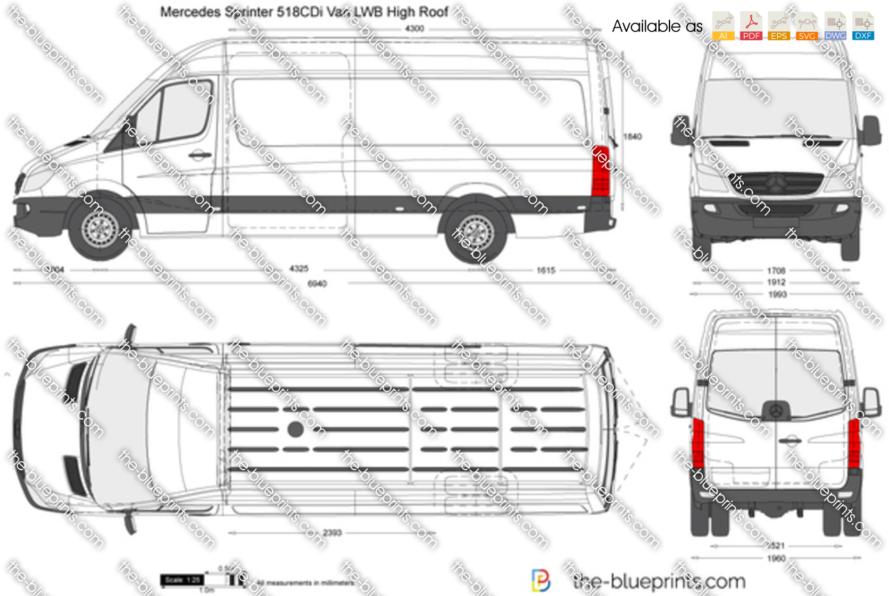 Mercedes Benz Sprinter 518cdi Van Lwb High Roof Vector Drawing