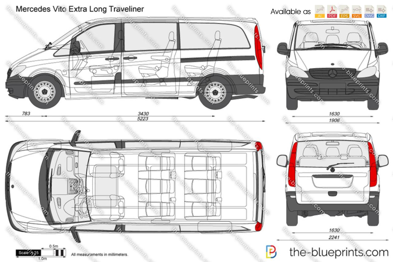mercedes benz vito extra long traveliner vector drawing. Black Bedroom Furniture Sets. Home Design Ideas