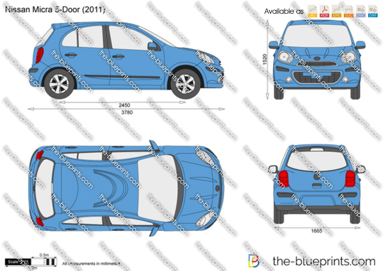 Nissan Micra 5-Door vector drawing