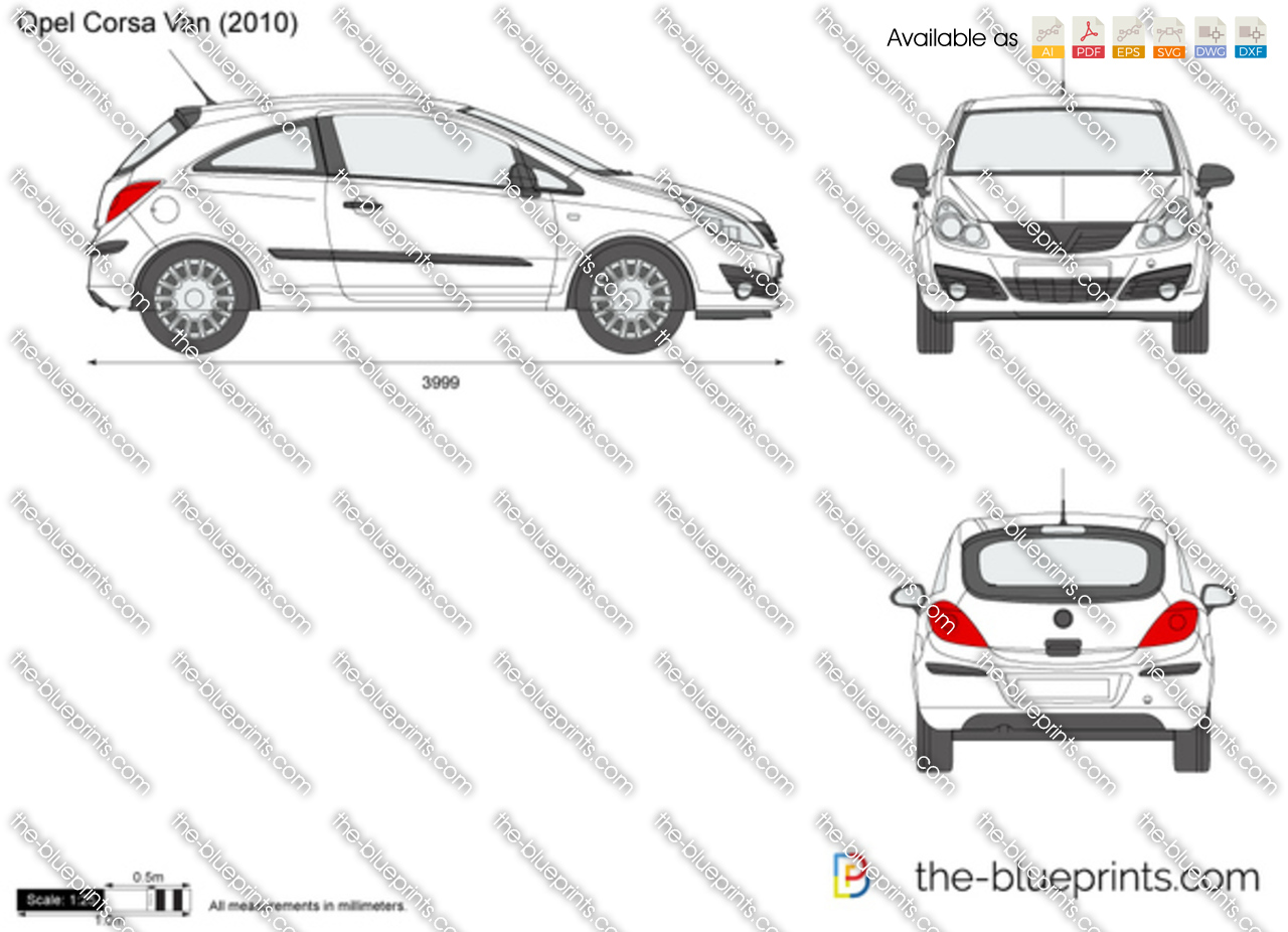 Opel Corsa D Van Vector Drawing
