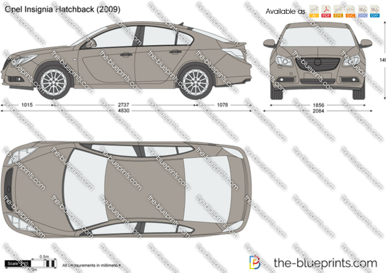 Opel Insignia Hatchback Vector Drawing