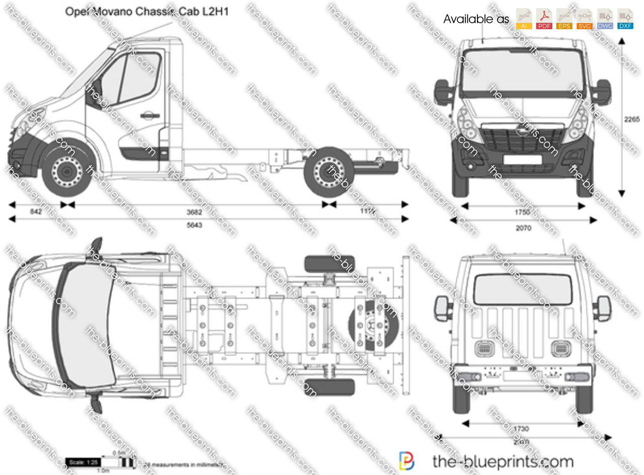 The blueprints com vector drawing opel astra k 5 door - Opel Movano Chassis Cab L2h1