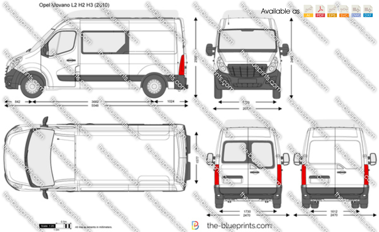 opel movano l2 h2 h3 vector drawing