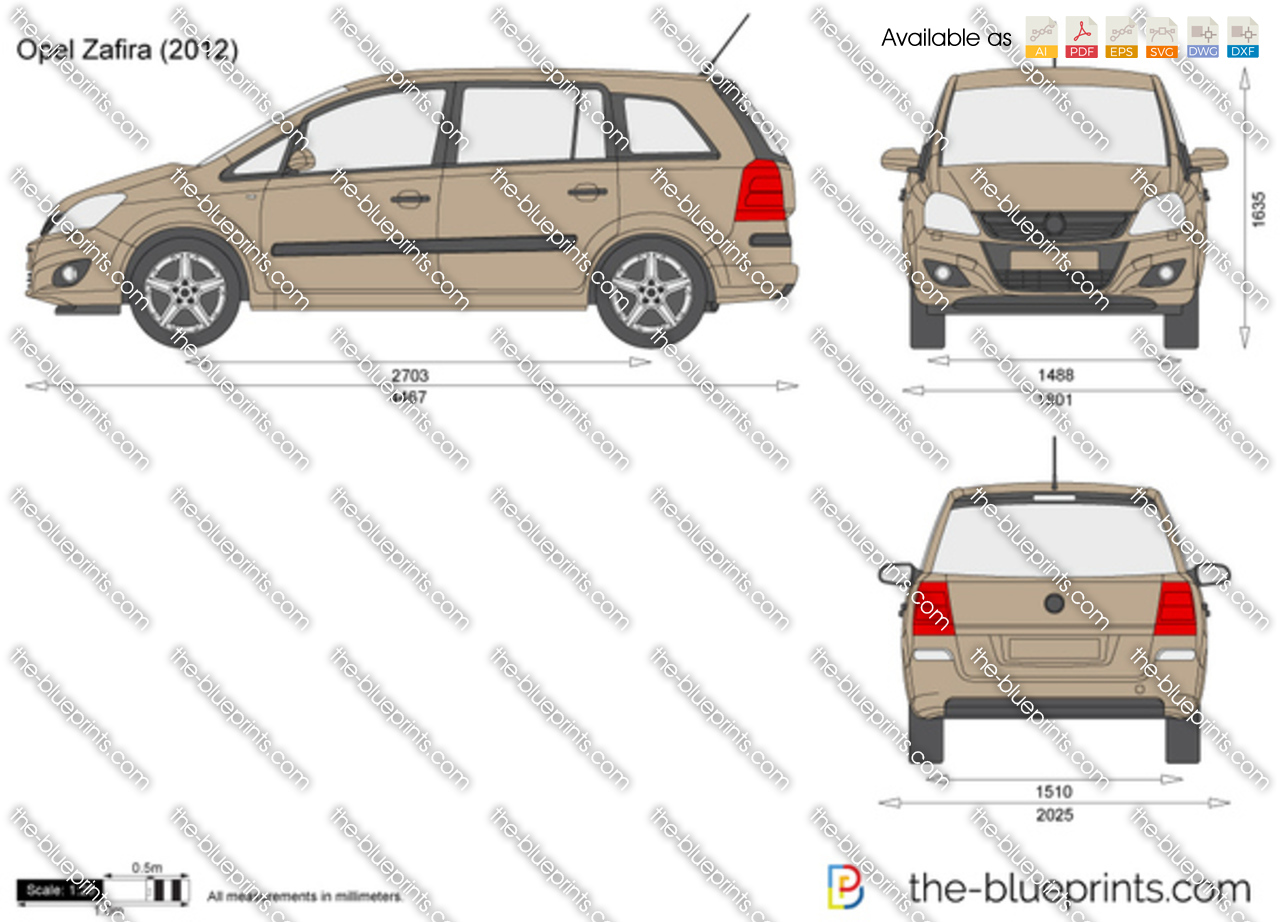 Opel Zafira Vector Drawing