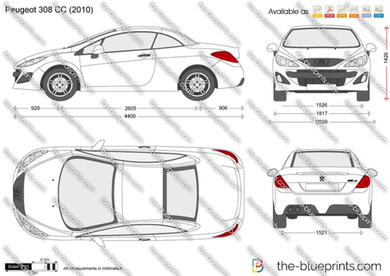 peugeot 308 cc vector drawing