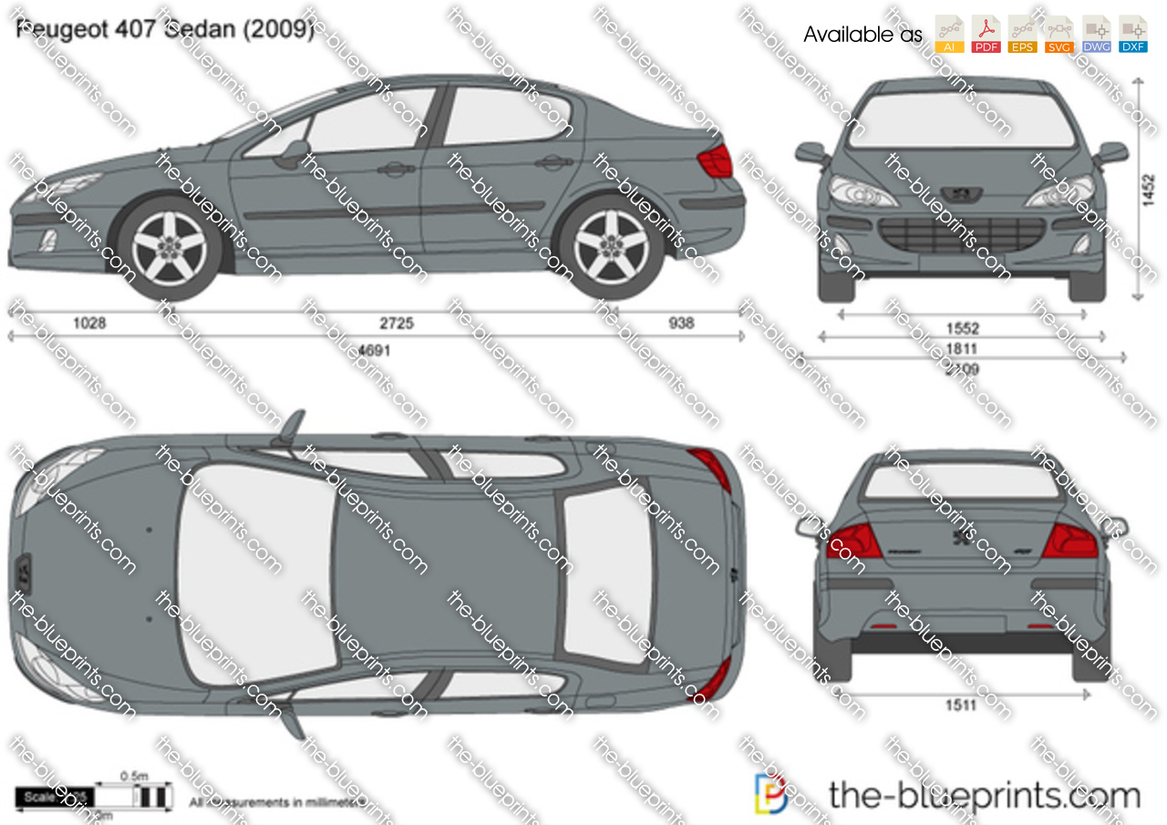 the vector drawing peugeot 407 sedan. Black Bedroom Furniture Sets. Home Design Ideas