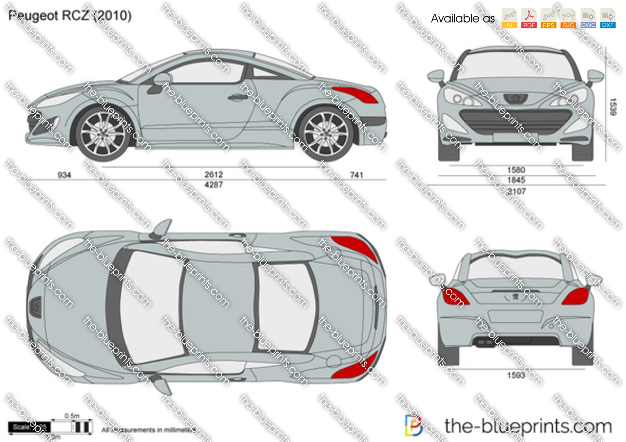 Peugeot Rcz Vector Drawing