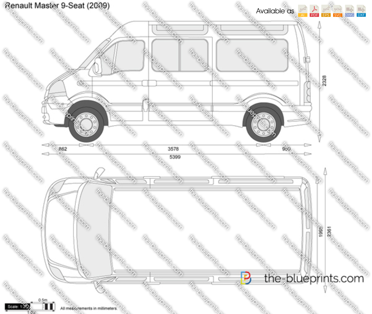 Renault Master 9-Seat Vector Drawing