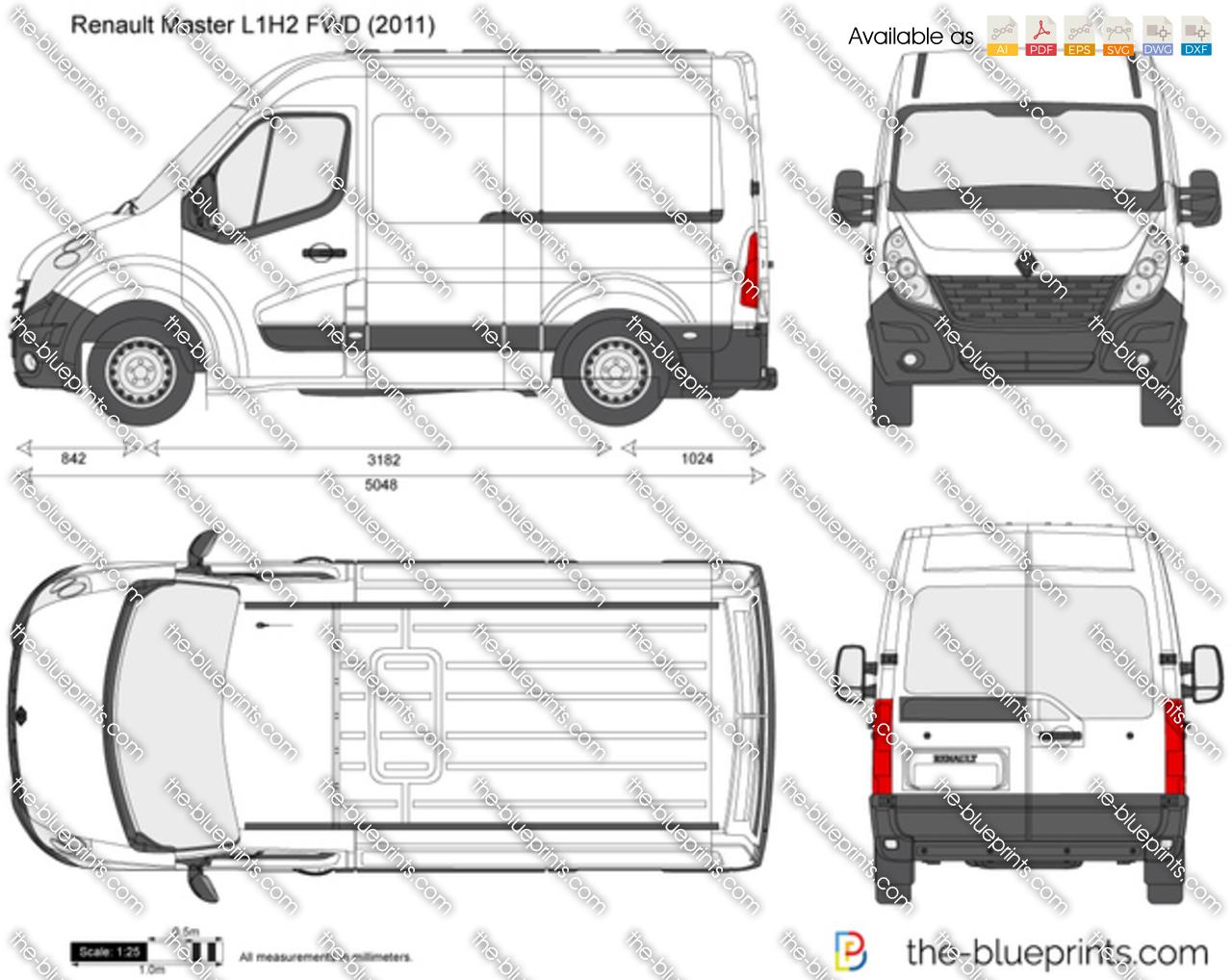 renault master l1h2 fwd vector drawing