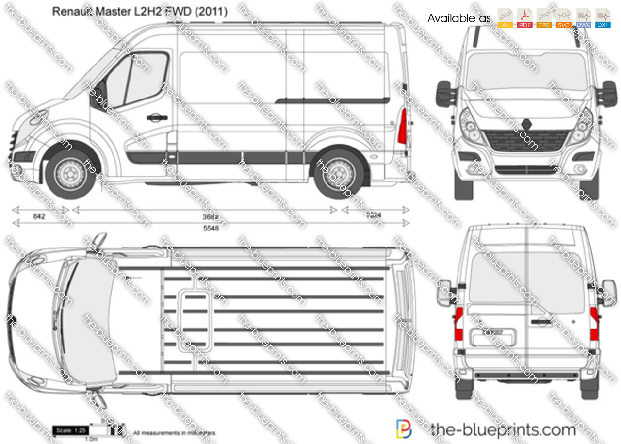 renault master l2h2 fwd vector drawing