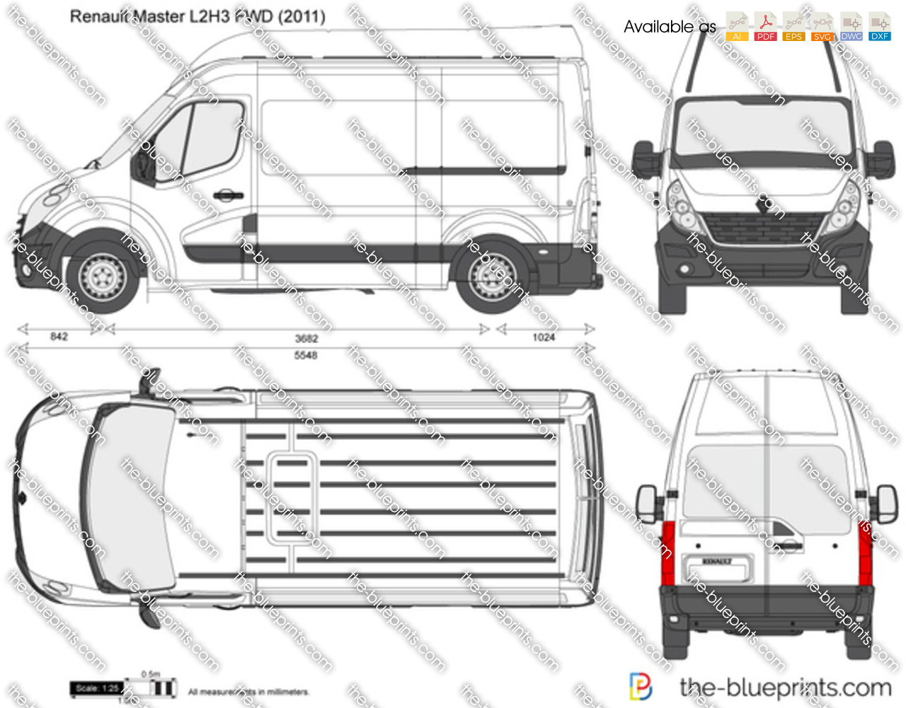 Renault Master L2h3 Fwd Vector Drawing
