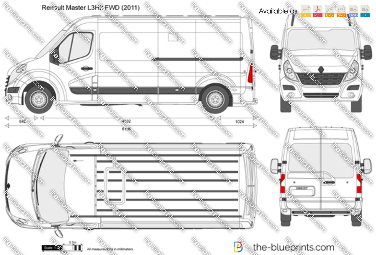 Renault Master L3h2 Fwd Vector Drawing