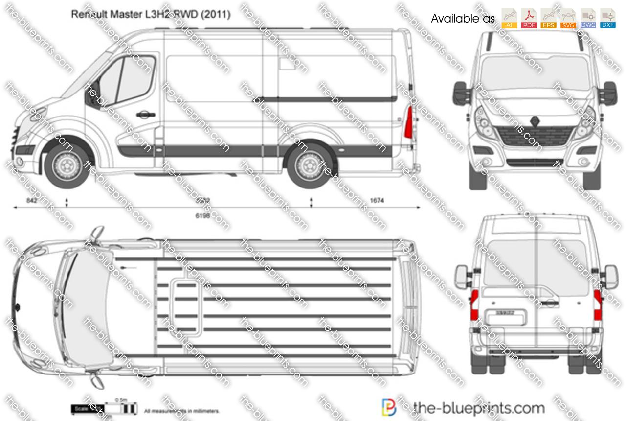 Renault Master L3h2 Rwd Vector Drawing