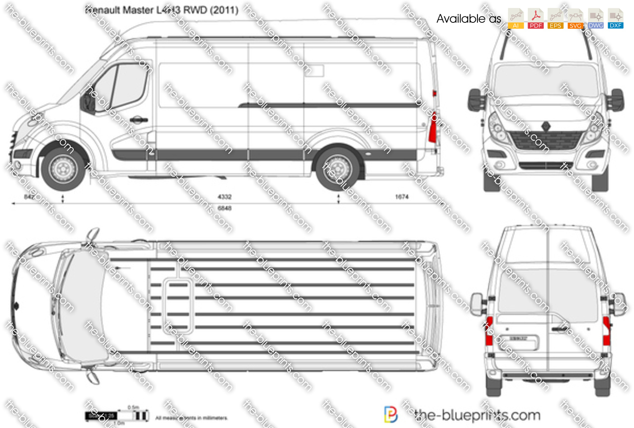 renault master l4h3 rwd vector drawing. Black Bedroom Furniture Sets. Home Design Ideas